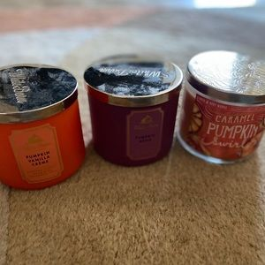 Three 3 wick candles bath and body works
